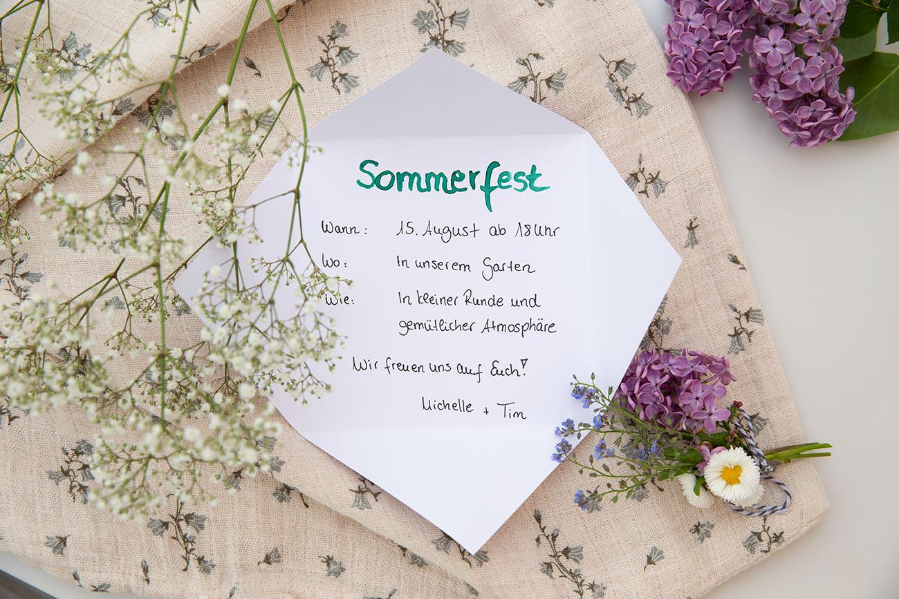 Einladungskarte für Sommerparty mit Freunden