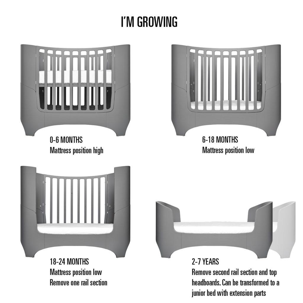 Das Kinderbett könnt ihr umbauen und somit von einem Alter von 0 - 7 Jahre verwenden.
