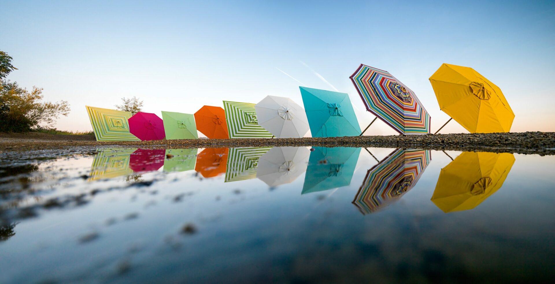 Auswahl verschiedener Sonnenschirme