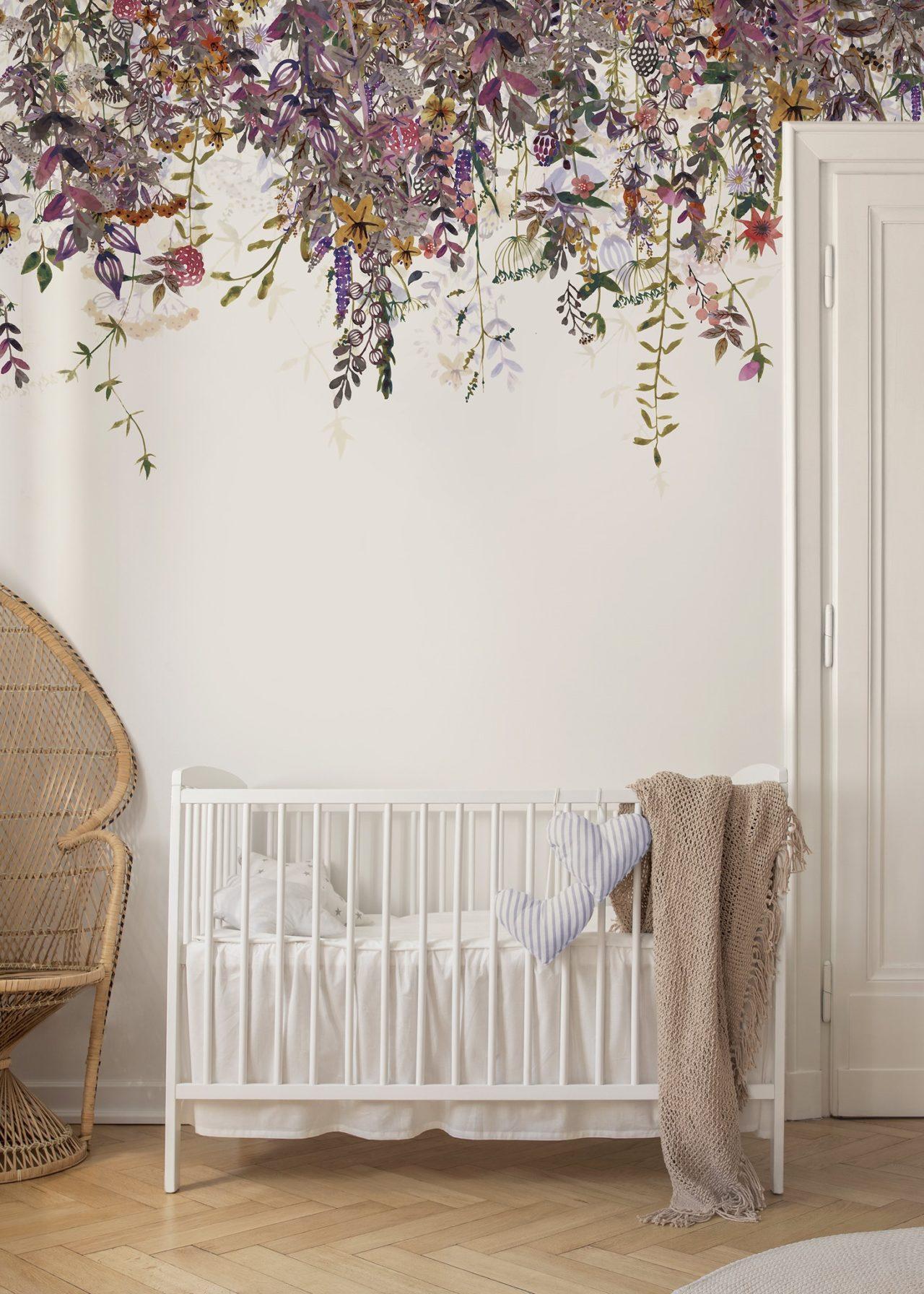 Kinderzimmertapete mit Blumen