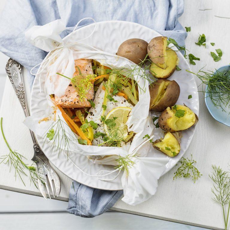 Gemüse Fisch Pergamentpäckchen