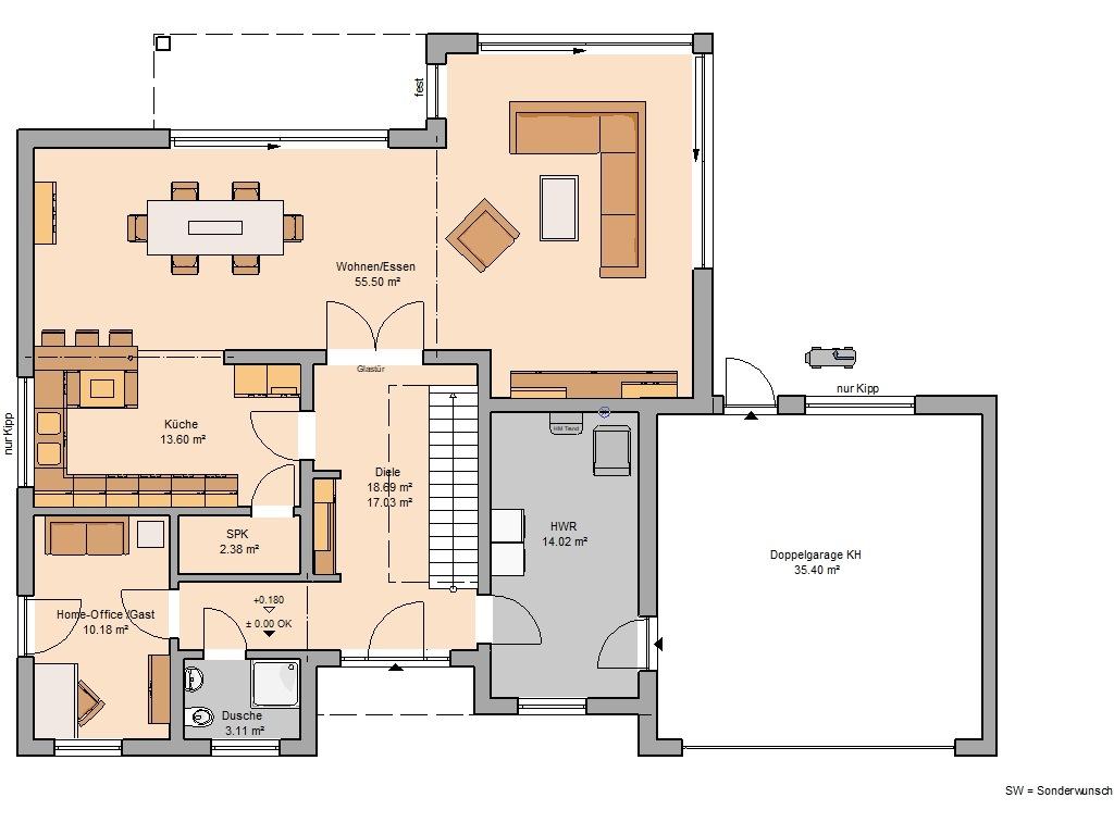Grundriss mit Garage Bauhaus Anteo