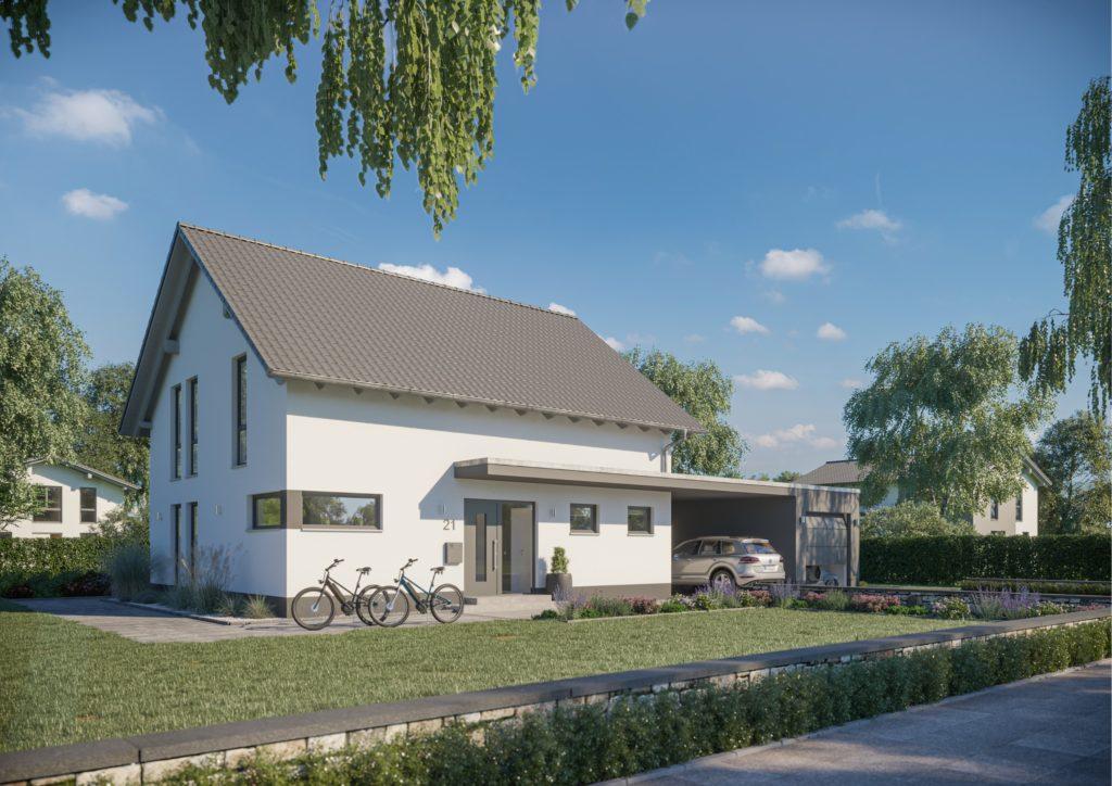 Familienhaus Melia Vordach kombiniert zur Garage