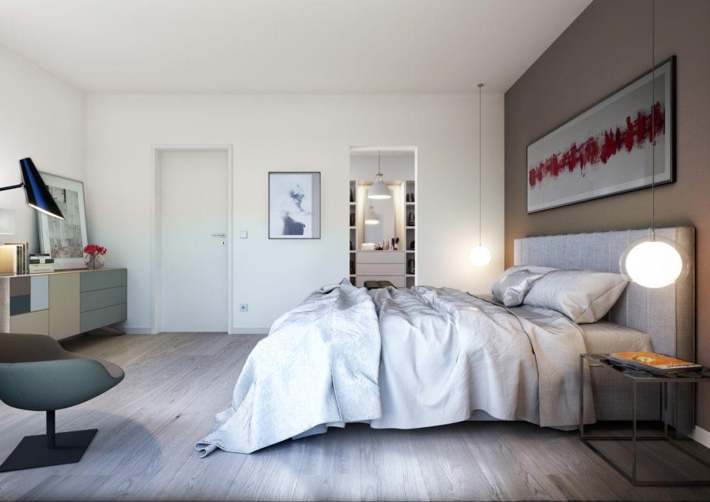 Modernes Schlafzimmer mit Ankleide