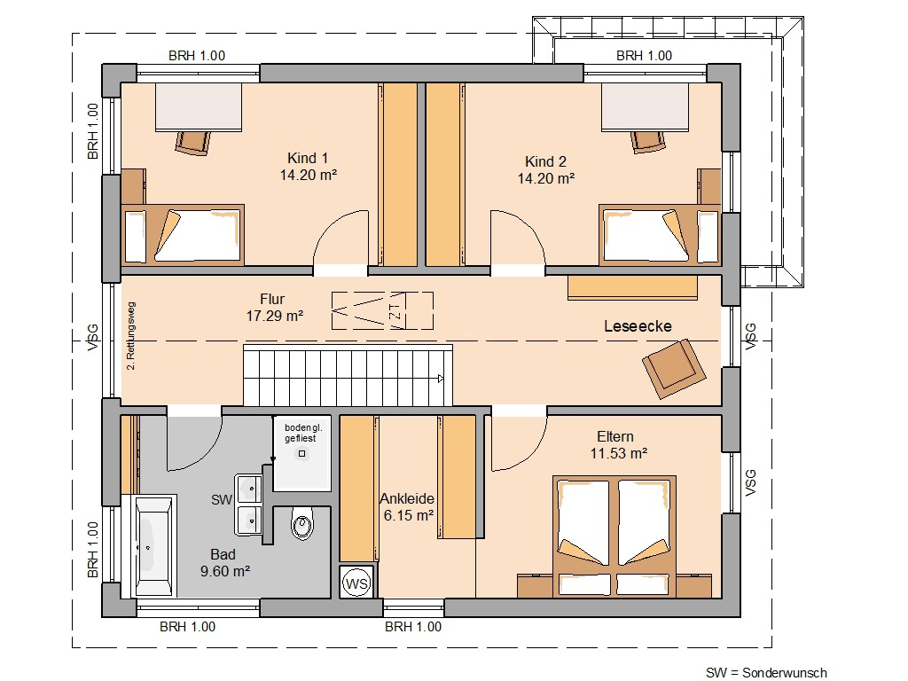 Grundriss Kern-Haus Allea Dachgeschoss