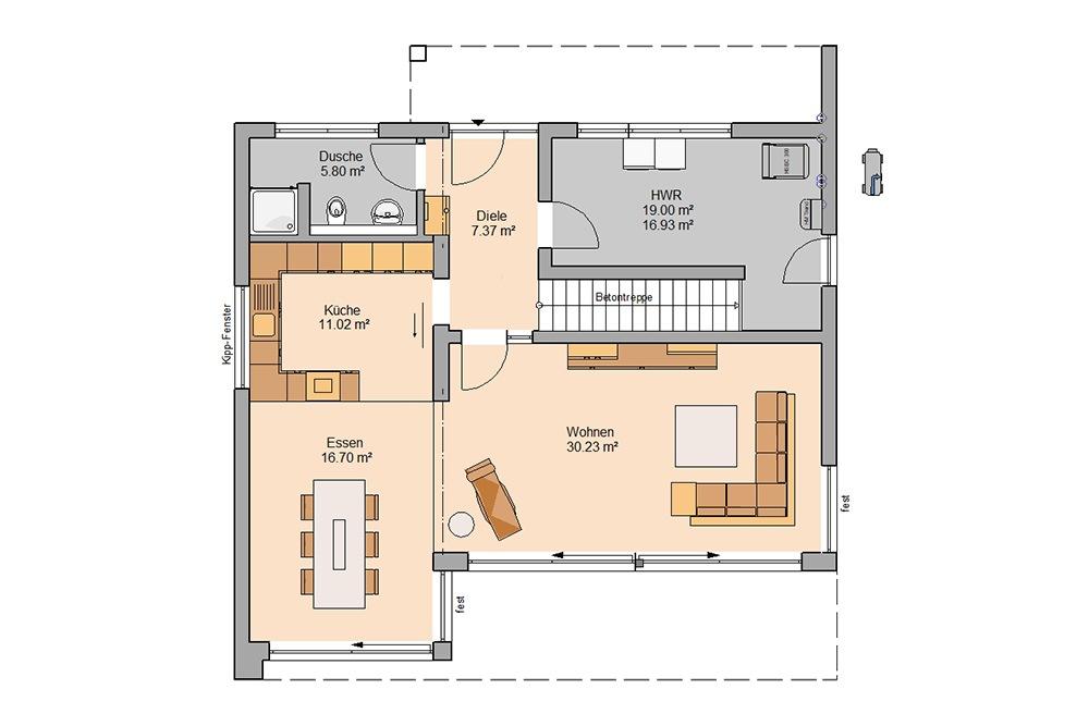 Grundriss Bauhaus Cono Kern-Haus