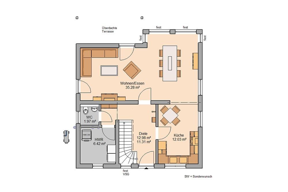 Grundriss Familienhaus Family Kern-HAus