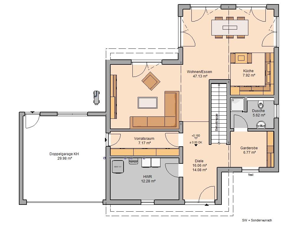 Bauhaus Cono Grundriss Erdgeschoss Vorratsraum