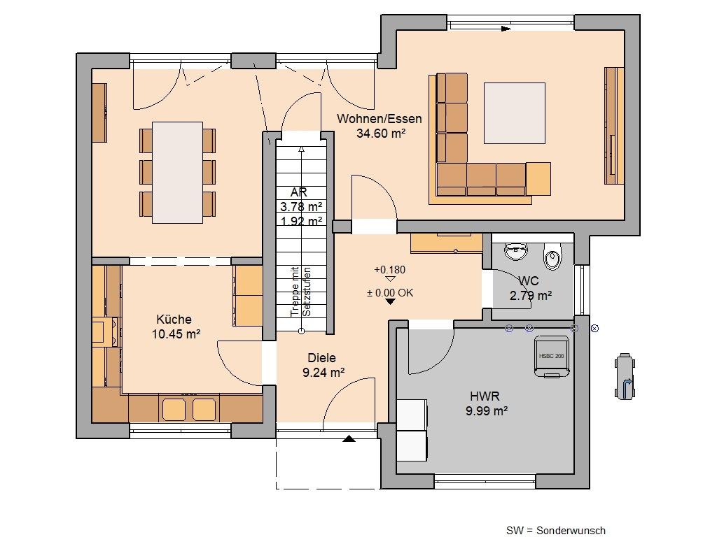 Bauhaus Modus Grundriss Erdgeschoss Speisekammer