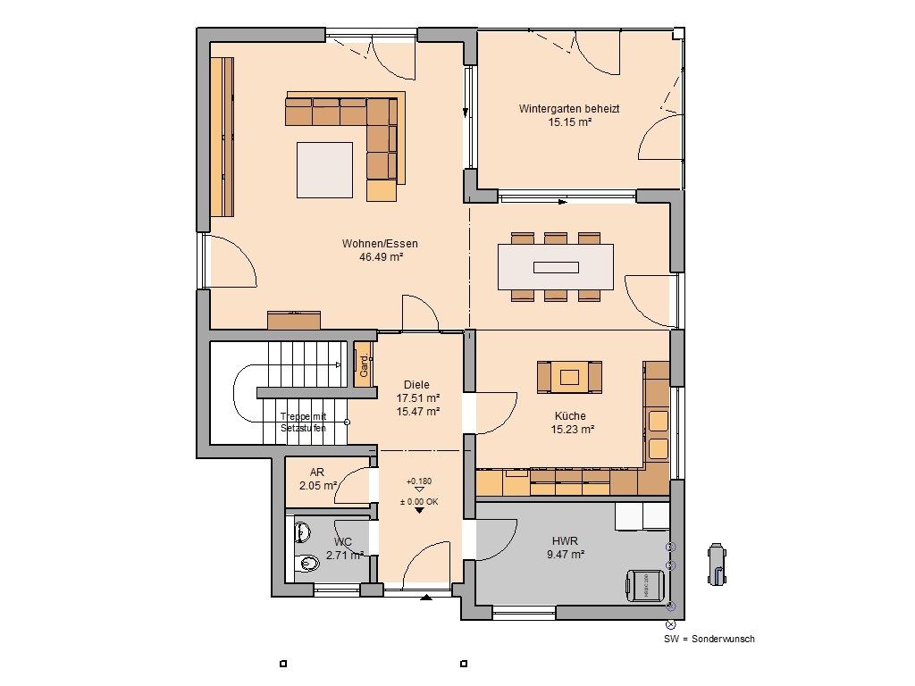 Familienhaus Akzent Grundriss Erdgeschoss