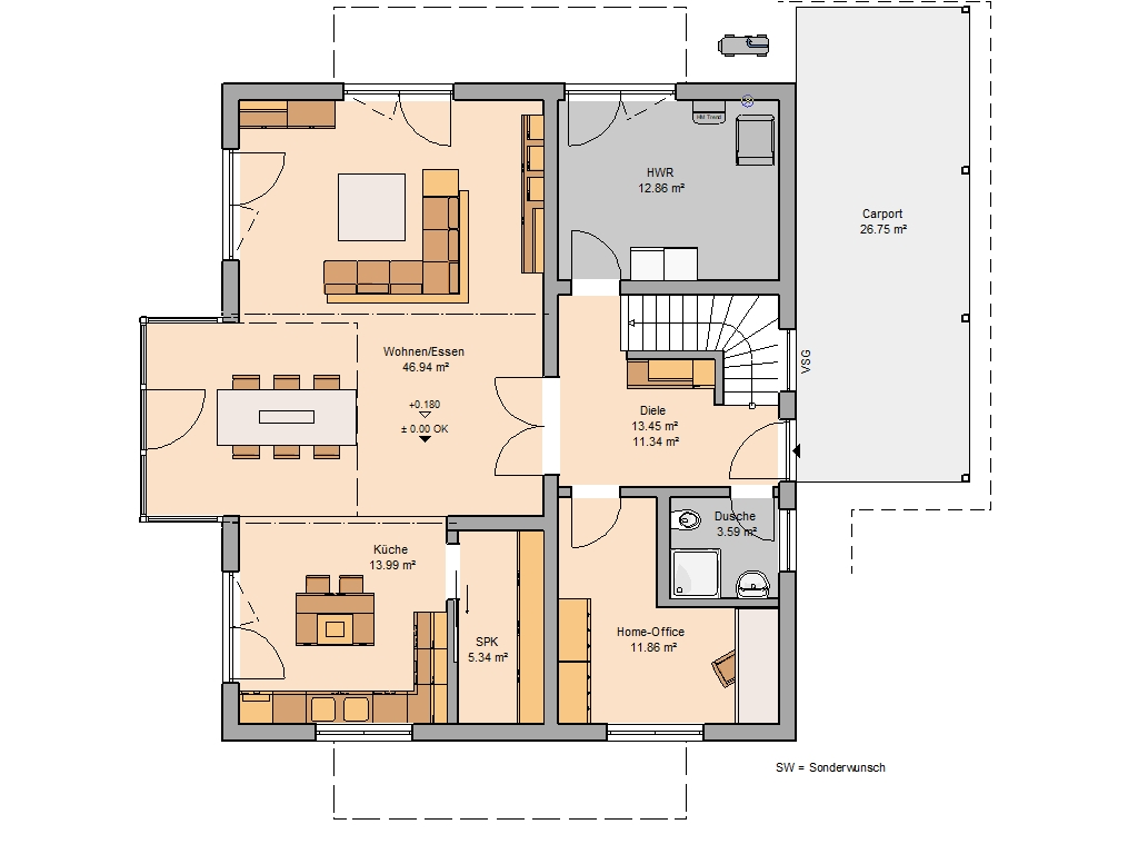 Familienhaus Luce Grundriss Erdgeschoss