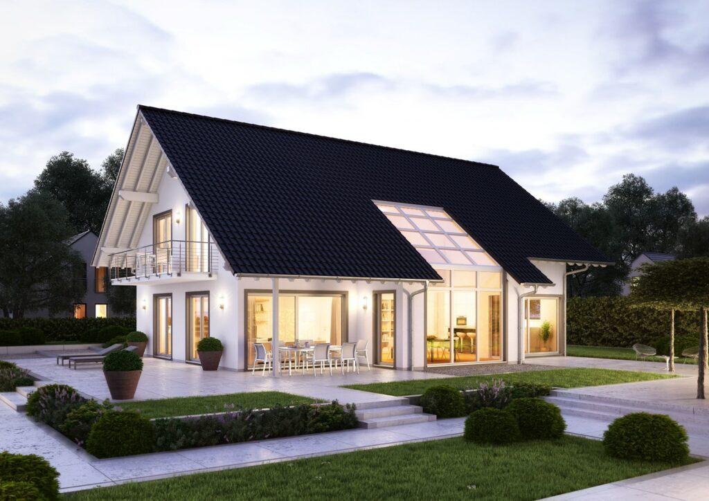 Kern-Haus Familienhaus Maxime Garten Abend