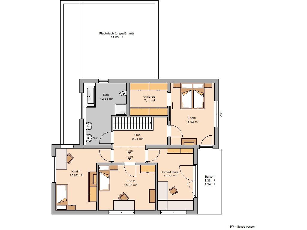 Grundriss Obergeschoss Futura Bauhaus