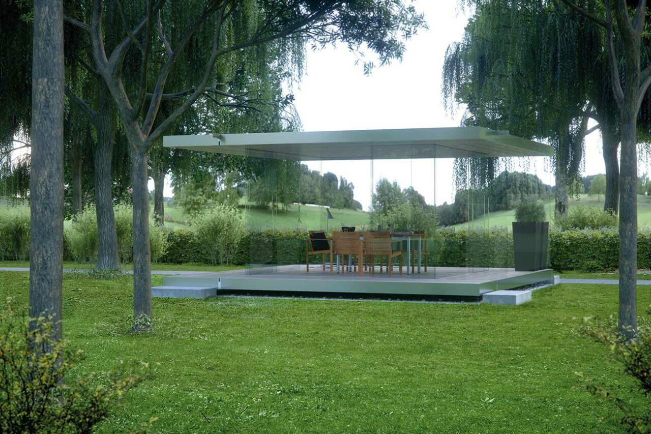 Pavillon komplett aus Glas